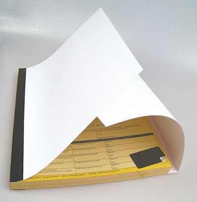 Attached Hinged Writing Shield on a Carbonless NCR Book, printed by Trade Printing UK