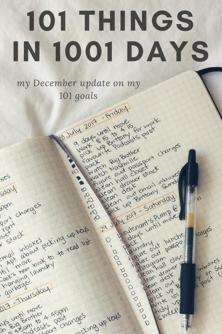 101 Things in 1001 Days December 2017 Update | kathleenhelen
