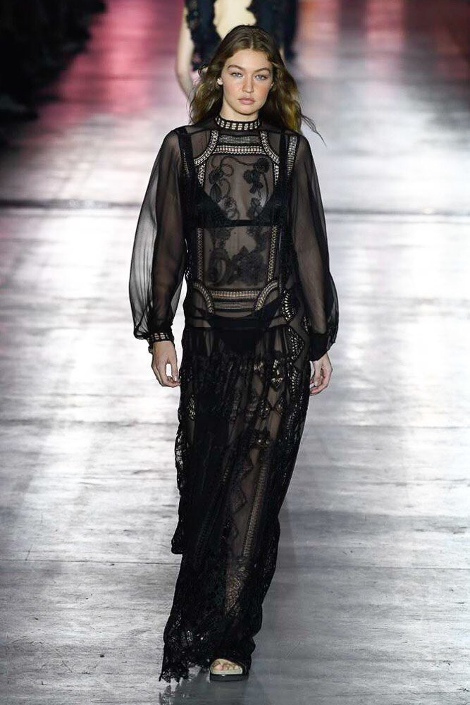 5524c99e637 Gigi Hadid was also clad in one of Alberta Ferretti s sheer black  ensembles