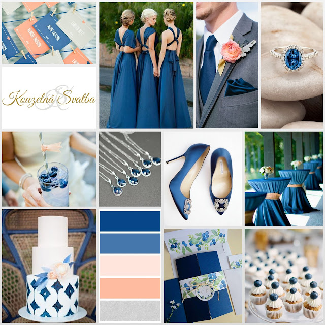 Snorkel Blue - svatba tmavě modrá s lososovou