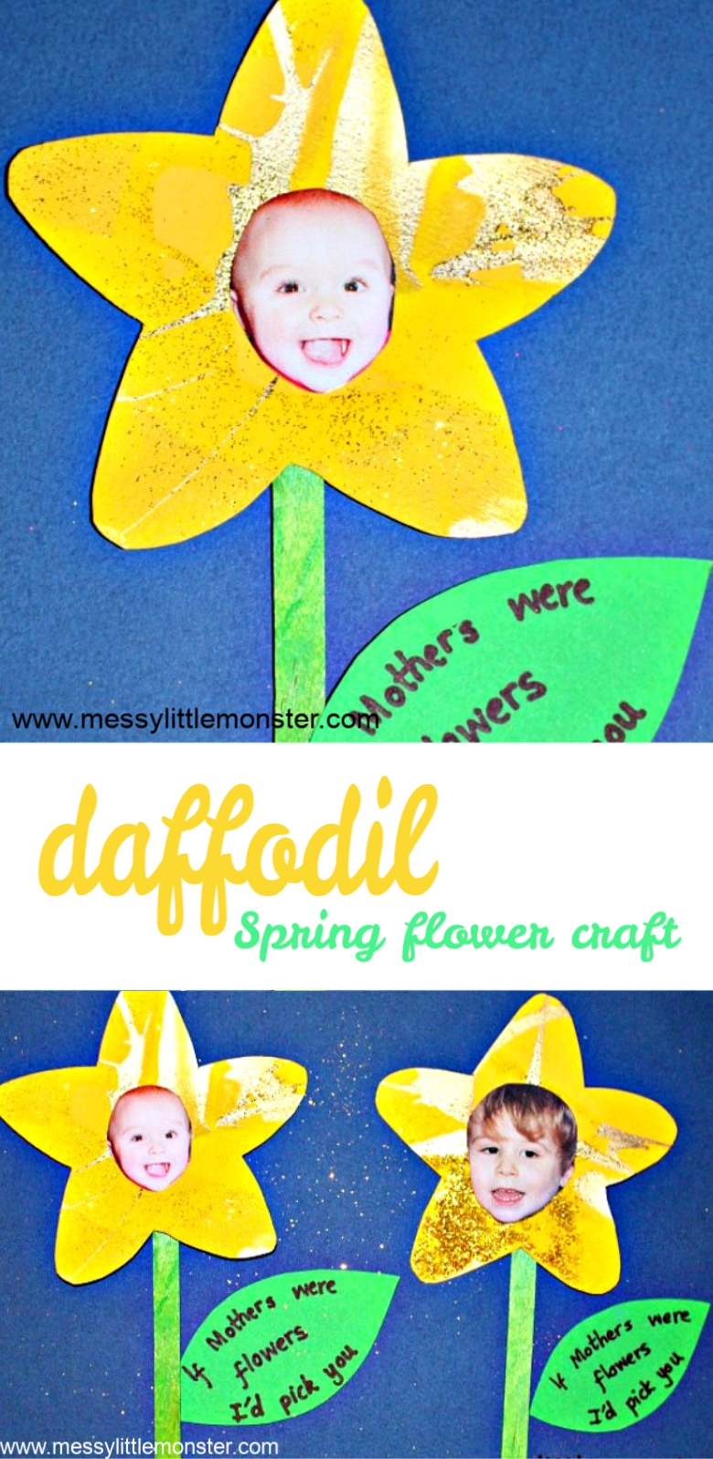 Spring Flower craft for kids. This daffodil craft makes an easy Mother's day craft, just add the words 'If mothers were flowers I'd pick you'!