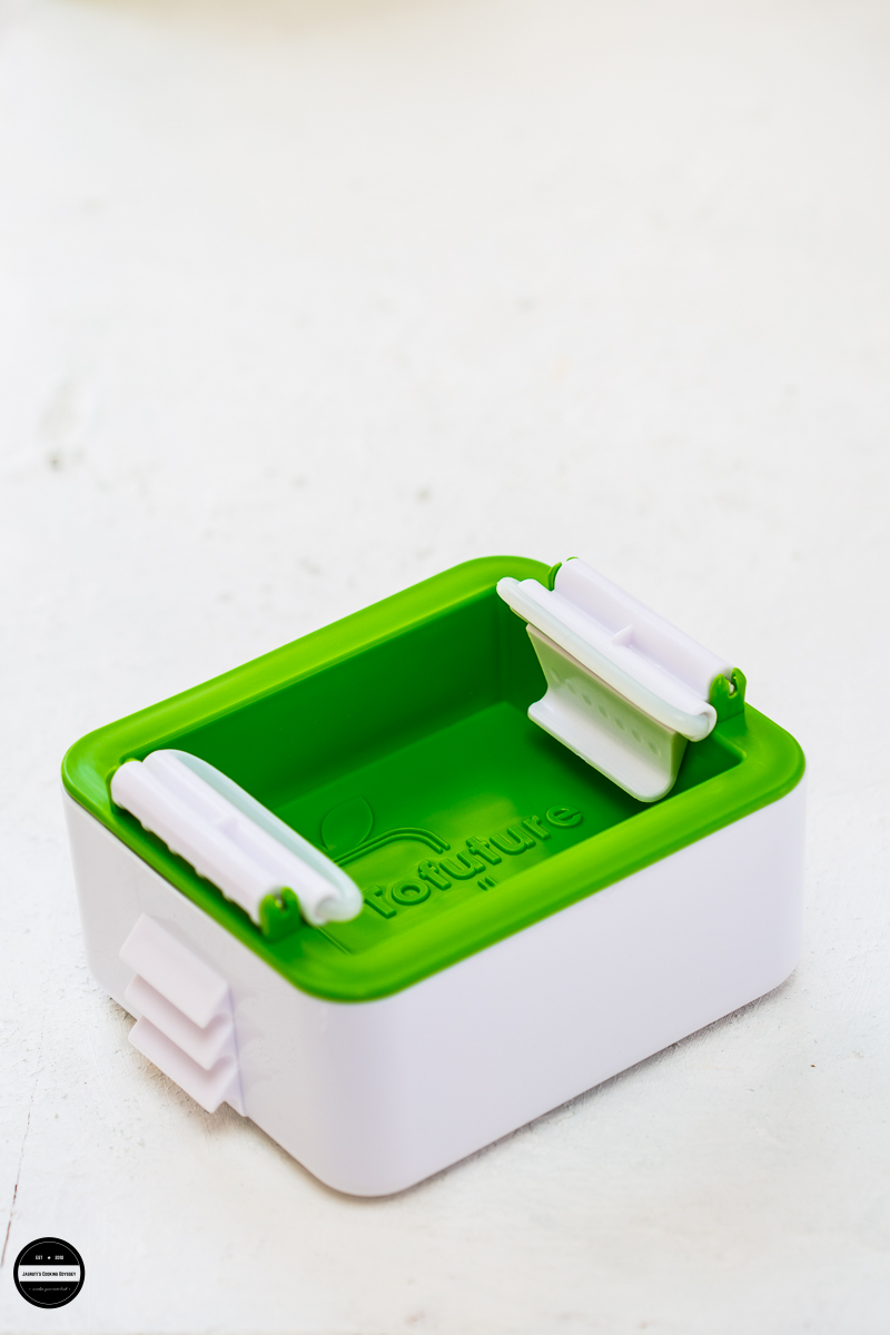 Tofuture Tofu Press is a compact kitchen gadget that is ideal for draining all the water from the tofu clean way.