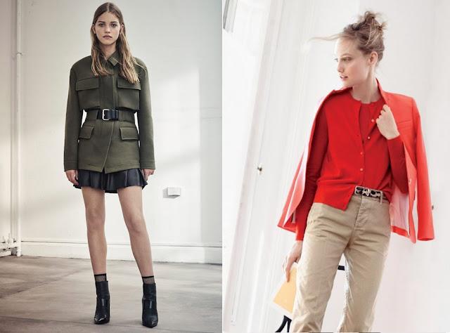 Жакет цвета хаки и красная блузка