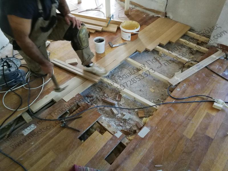 επισκευή σε ξύλινο πάτωμα Νιανγκόν