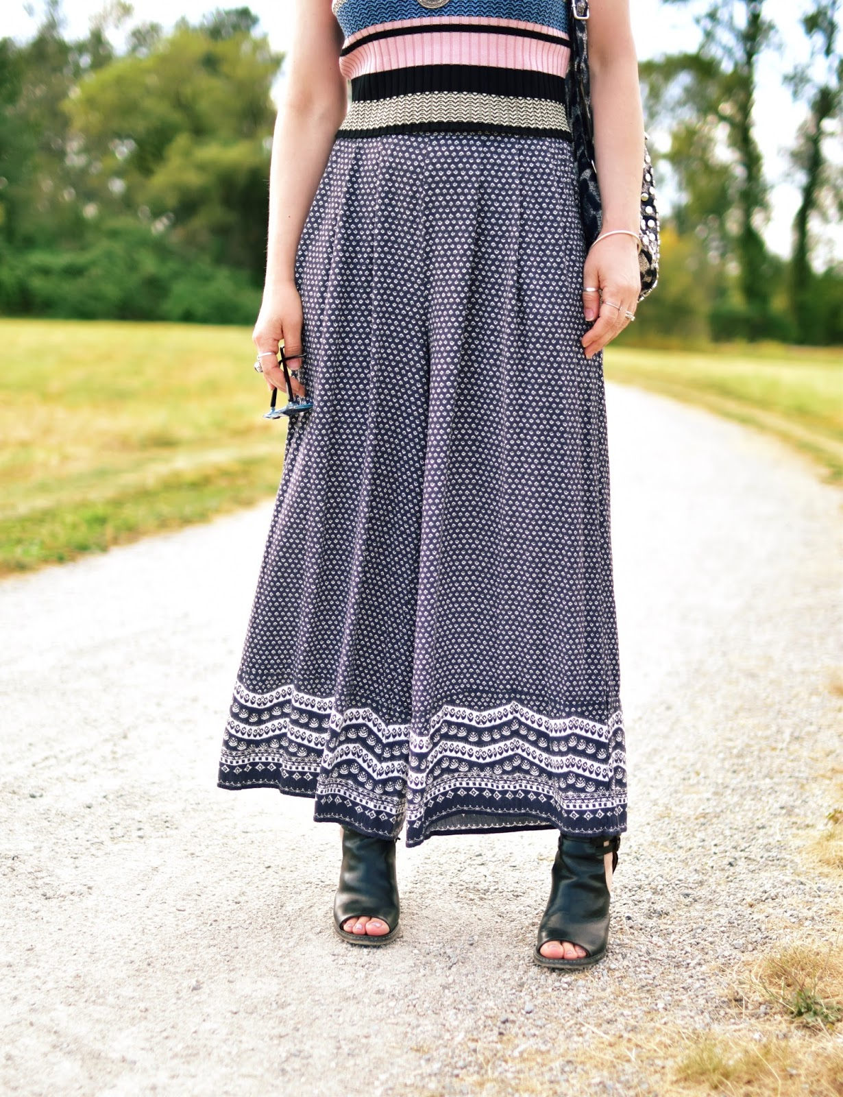 patterned palazzo pants, striped tank top, cut-out booties
