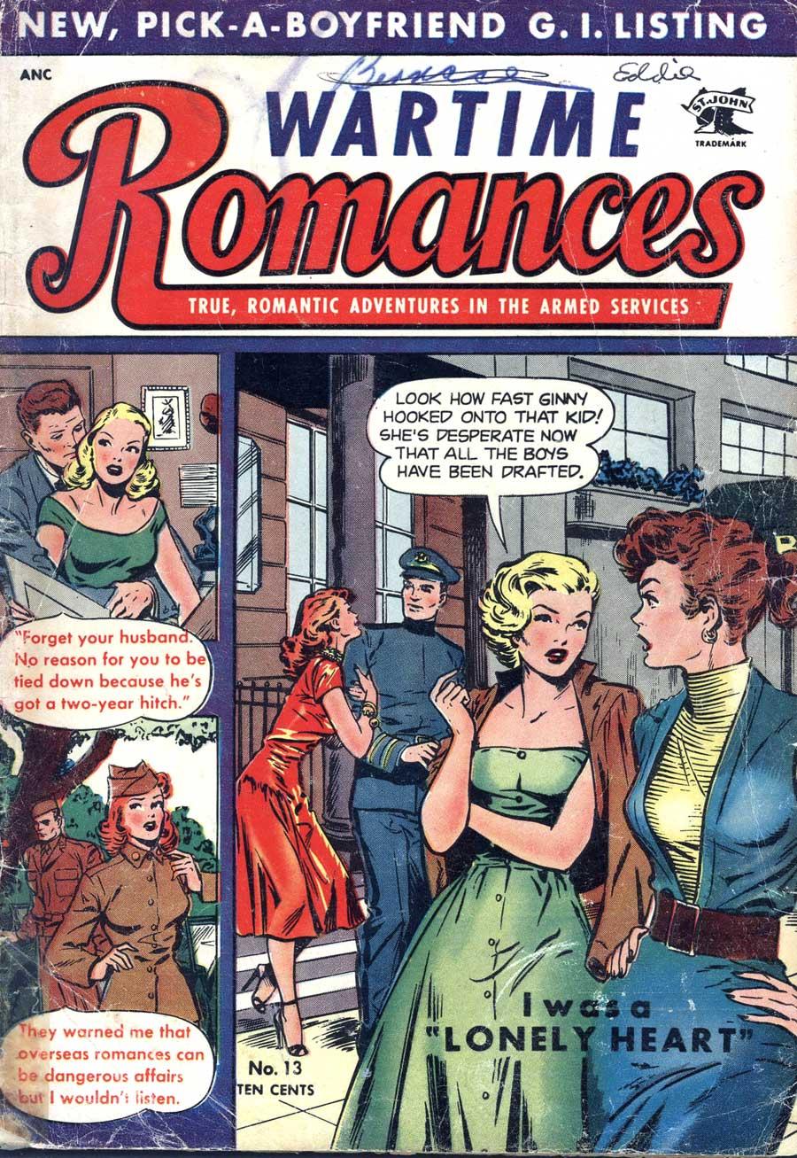 Wartime Romances #13 st. john 1950s golden age romance comic book cover by Matt Baker