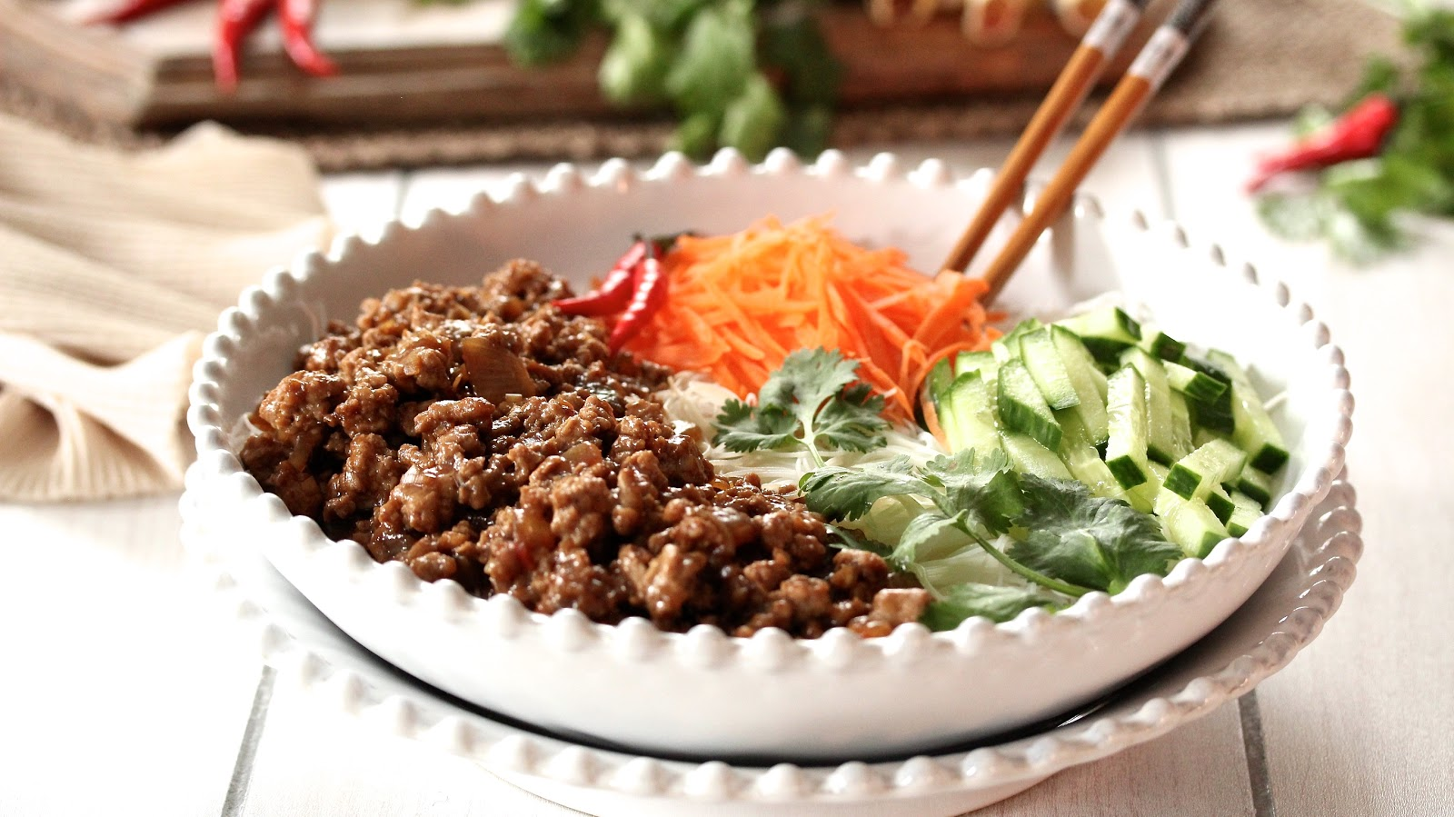 VIETNAMESE GROUND PORK RICE NOODLE BOWL | In Good Flavor | Great
