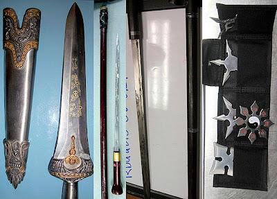 (L-R) Dagger (AUS), Cane Sword (CAK), Cane Sword (RDU), Throwing Stars (SAN)