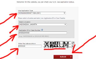 contoh pengisian kolom untuk cek visa amerika