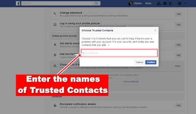 Facebook-trsted contacts