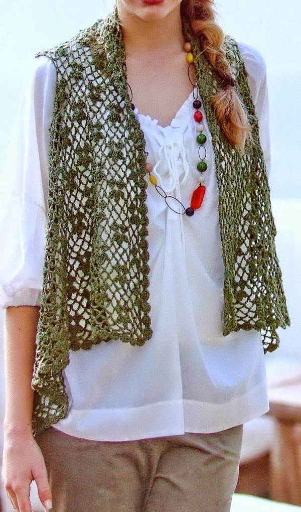 Free Crochet Pattern Lace Vest : Stylish Easy Crochet: Crochet Lace Vest Pattern for Women