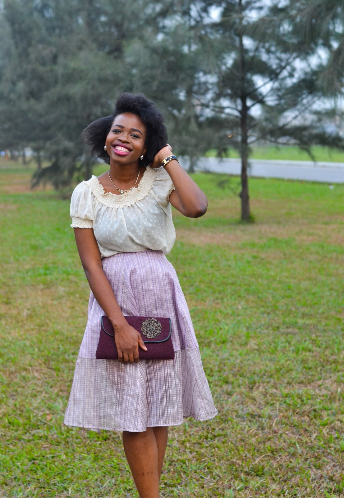 Flared Lilac Skirt on Nigerian Style Blogger