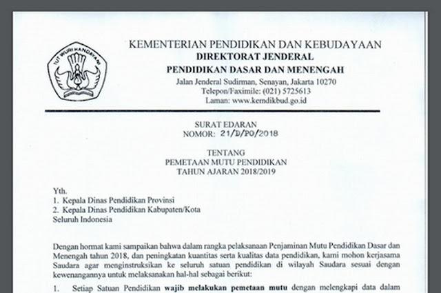 Surat Edaran Dirjen Dikdasmen No 21/D/PO/2018 Tentang PMP Tahun Ajaran 2018/2019