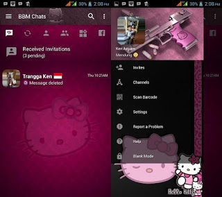 BBM Hello Kitty Dark v3.2.5.12 Apk