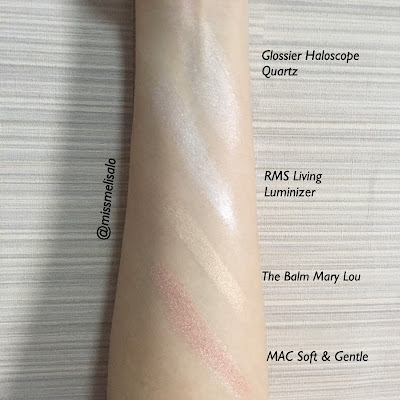 Glossier Haloscope in Quartz Swatches Comparison