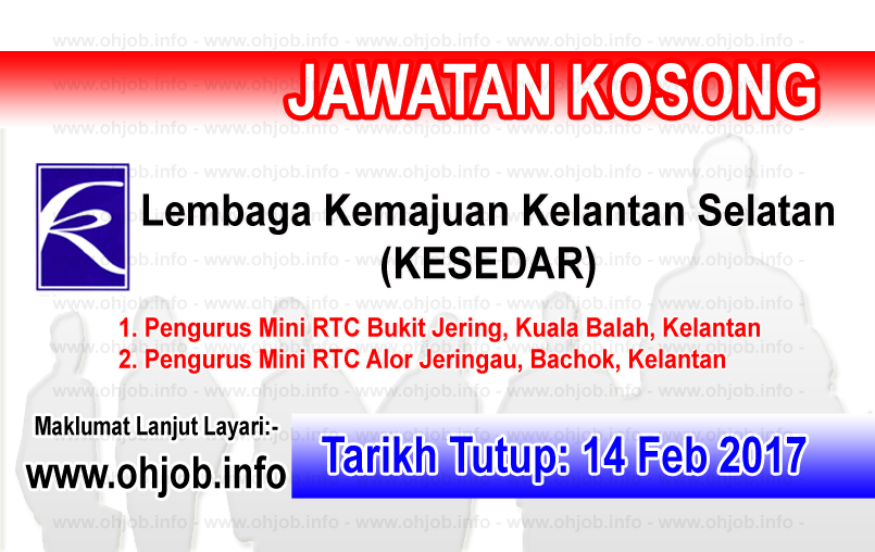 Jawatan Kerja Kosong Lembaga Kemajuan Kelantan Selatan (KESEDAR) logo www.ohjob.info februari 2017