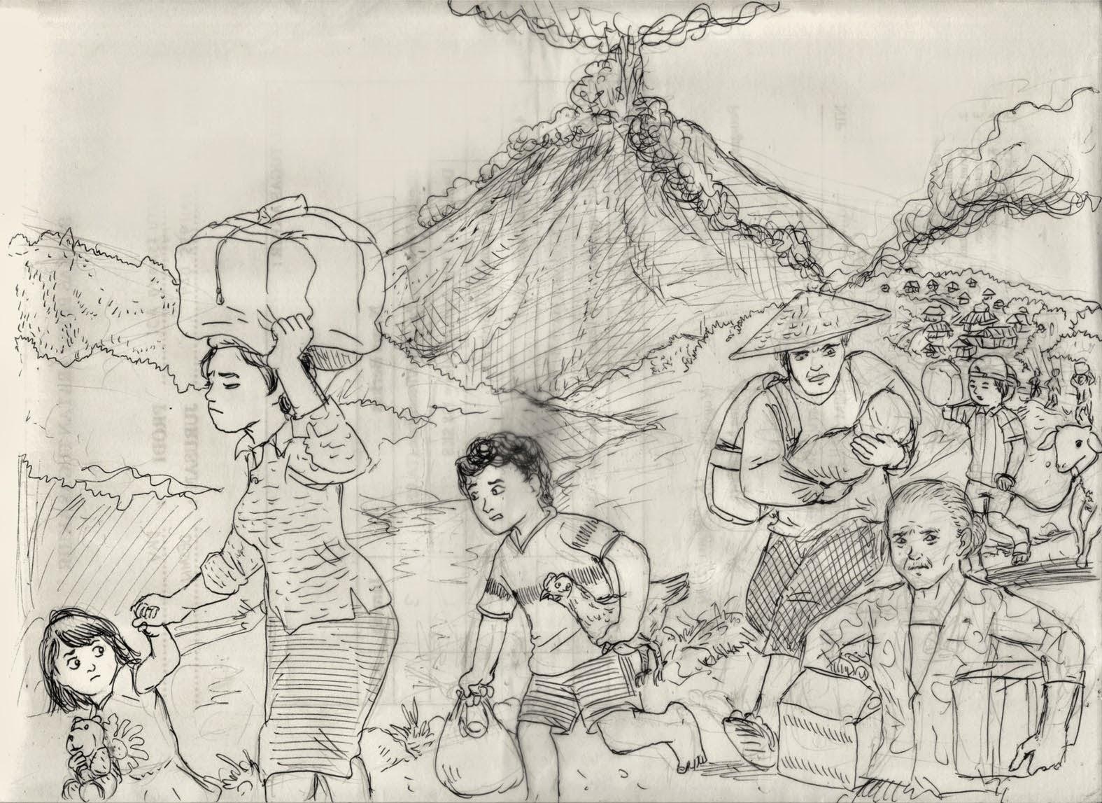 162 Sketsa Gambar Ilustrasi Gunung Meletus