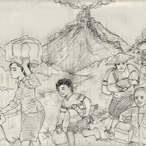 Ilustrasi Bencana Erupsi Gunung Berapi Japirensil