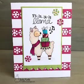 Fa-la-la-la llama by Becky features Snow Globe Shaker, Fancy Edges Tag, and Llama Delivery by Newton's Nook Designs; #newtonsnook