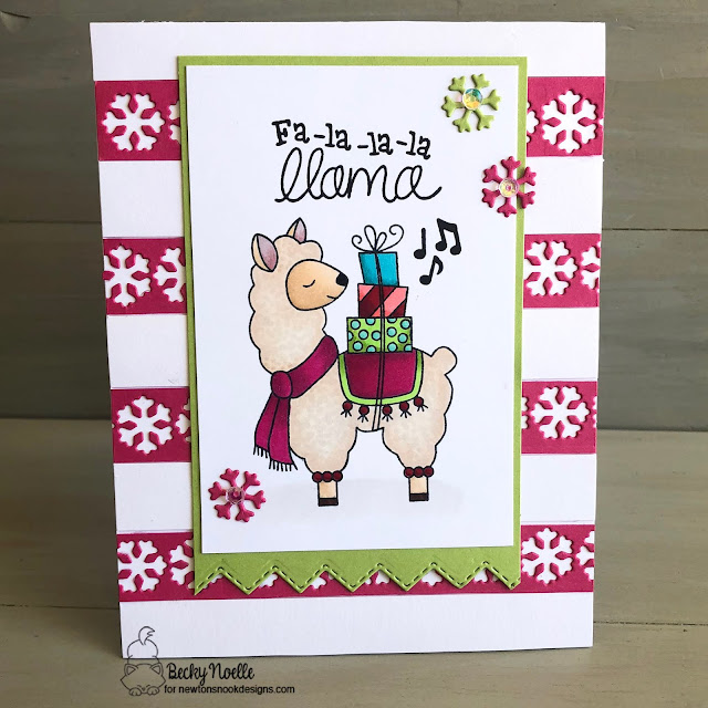 Fa-la-la-la llama by Becky features Snow Globe Shaker, Fancy Edges Tag, and Llama Delivery by Newton's Nook Designs; #newtonsnook