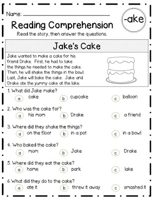 kindergarten reading comprehension assessment