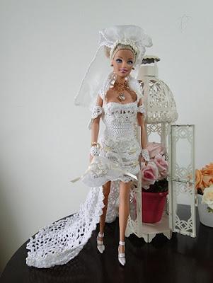 vestido de noiva de crochet para Barbie por Pecunia MM