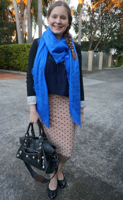Louis Vuitton monogram shawl in bleu with blazer and polka dot pencil skirt winter office wear | awayfromtheblue