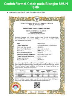 Contoh Format Cetak pada Blangko SHUN SMK