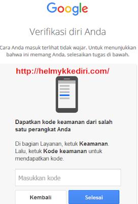 Verifikasi login akun gmail dengan ponsel
