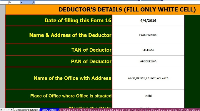 Submit Income Tax Proof to Employer, With Automated Income Tax Master of Form 16 Part B for 100 Employees for F.Y.2016-17