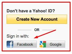 yahoo mail facebook login