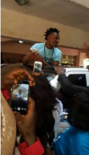 #BBNaija: See How Efe Landed In Abuja With Full Convoy (Photos)