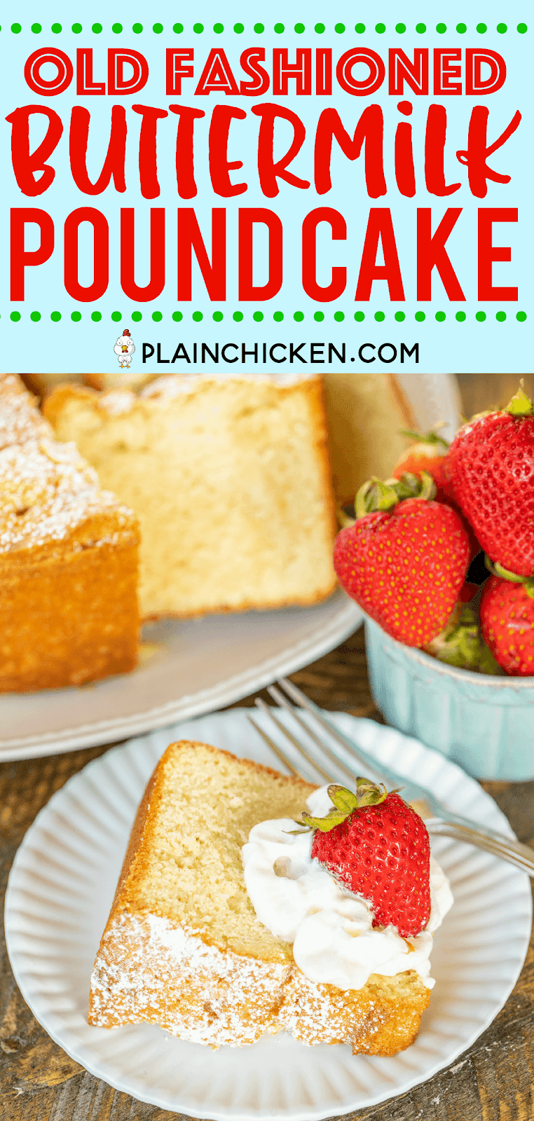 Old Fashioned Buttermilk Pound Cake - seriously the BEST pound cake we've ever made! SO delicious!! SO light and fluffy! Shortening, sugar, buttermilk, egg yolks, baking soda, flour, salt, vanilla and stiff egg whites. Fluffy egg whites make all the difference in this batter! Can make ahead of time and store in an air-tight container. Freeze any leftovers for a quick dessert later. You MUST make this cake ASAP!! #cake #dessert #poundcake