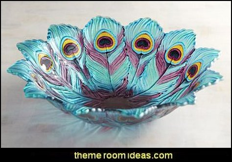 Glass Peacock Serving Bowl Peacock Theme Decorating   Peacock Theme Decor    Exotic Style Decorating