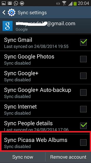 Auto backup picasa android: