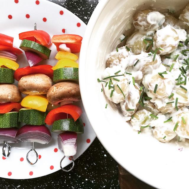 Veggie kebabs and potato salad for a BBQ