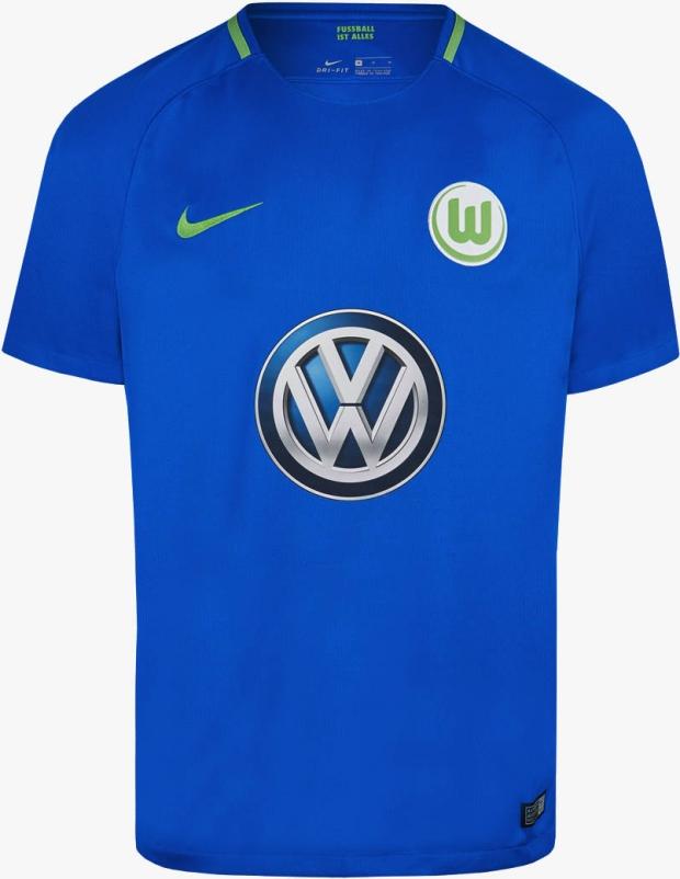 9107e90235 A camisa reserva é predominamente azul com detalhes em verde na gola e nas  laterais. O terceiro uniforme é predominantemente branco ...