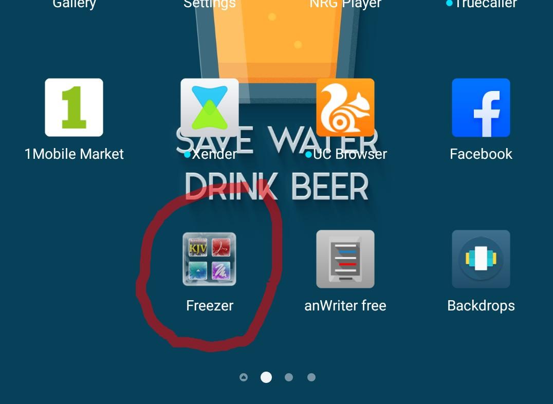 Locating the app freezer icon