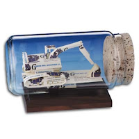 Excavator Sculpture in a Bottle