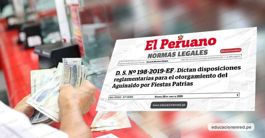 Aguinaldo por Fiestas Patrias será de 300 soles para trabajadores del sector público (D. S. Nº 198-2019-EF)