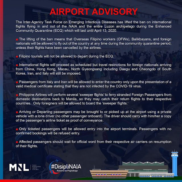 Metro Manila Luzon Lockdown Guidelines for those with flights