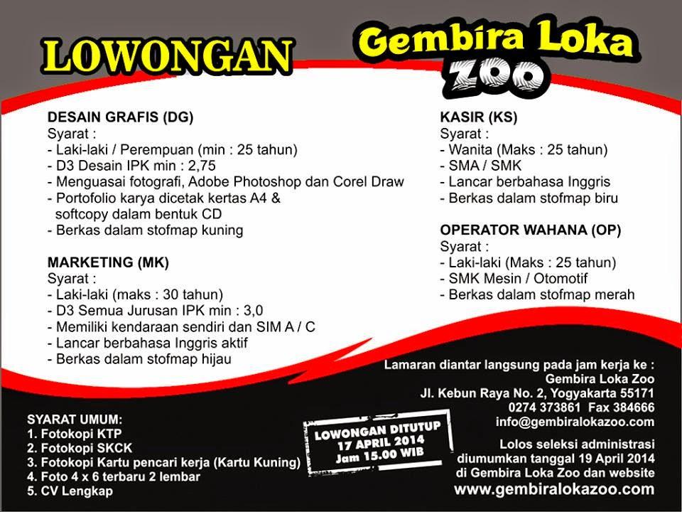 Loker Jogja 2017 Loker Jogja Terbaru 2014 Di Gembira Loka Zoo