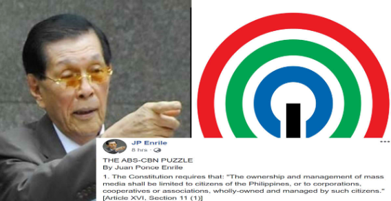 Former Senator JP Enrile comments on ABS-CBN's temporary franchise, mass media ownership & management as per PH Constitution
