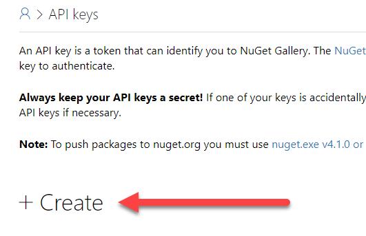 """Sección """"Create"""" en Nuget.org"""