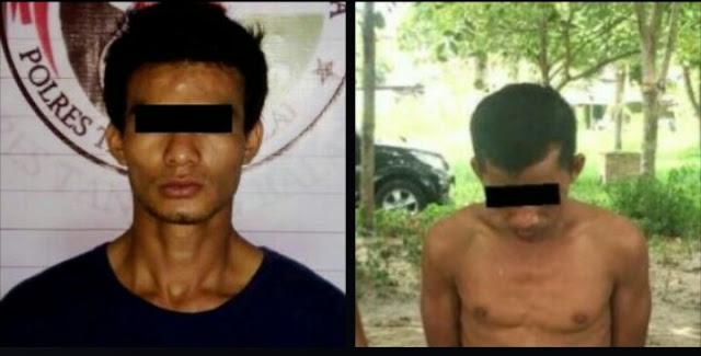 Dua tersangka pengedar narkoba di Tanjungbalai yang diringkus polisi.