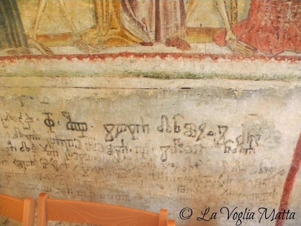 Hrastovlje Slovenia chiesa della SS Trinità iscrizione in scrittura glagolitica