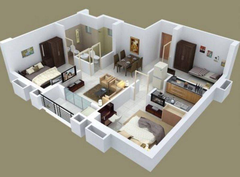 denah rumah 3 kamar tidur 1 lantai 3D 1