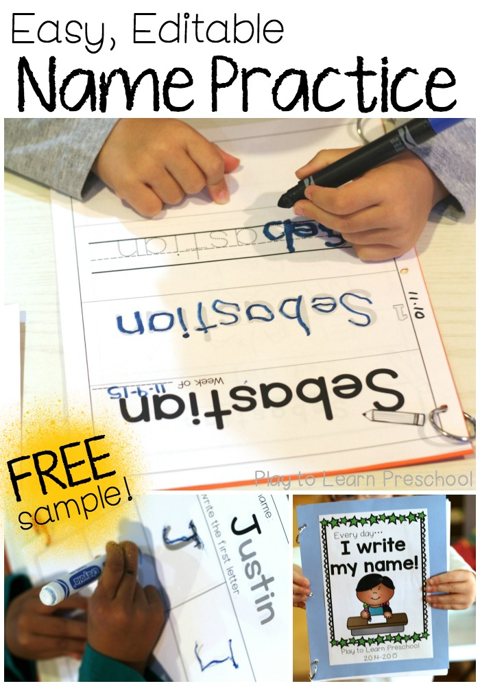 Easy name practice worksheets also rh playtolearnpreschool