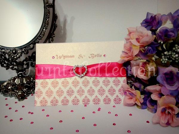 Pink Heart Damask Wedding Invitation Card, wedding invitation card, pink heart damask, white gold star shine card, classic fold, wedding card, invitation card, pink card, handmade card
