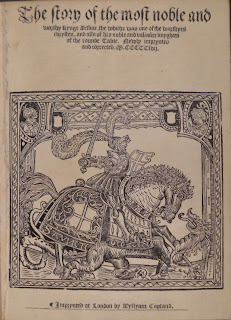 """A title page for """"The Story of the Moste Noble and Worthy Kynge Arthur."""""""